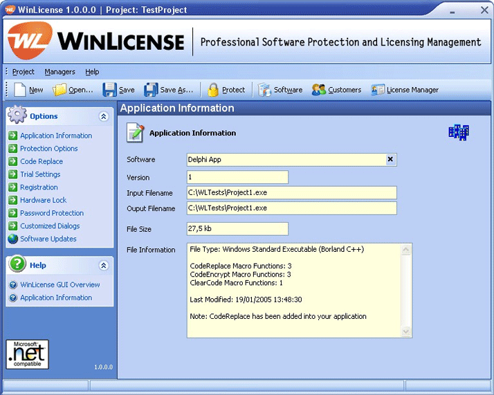 WinLicense Combines the power of software protection, with the power of advanced licensecontrol. It offers a wide range of powerful and flexible techniques that allow developers tosecurely distribute trial versions of their applications.